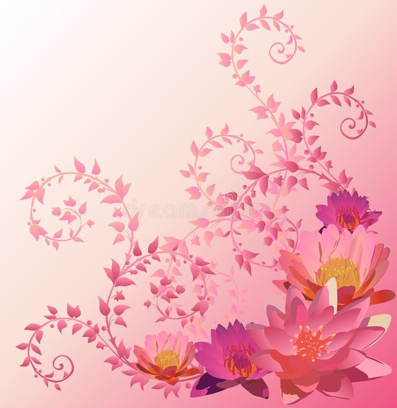 Fondo rosado con las flores del lirio y de loto libre illustration