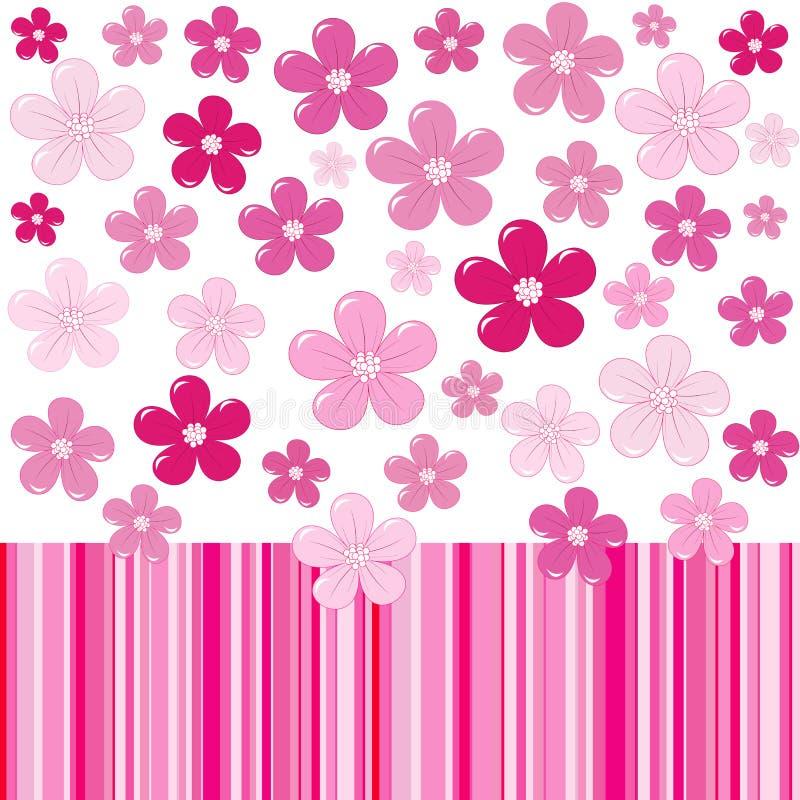 Fondo rosado con las flores y las rayas stock de ilustración
