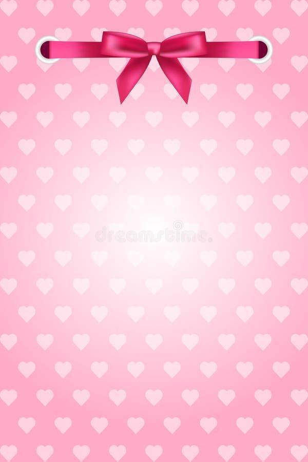 Fondo rosado con los corazones y la cinta stock de ilustración