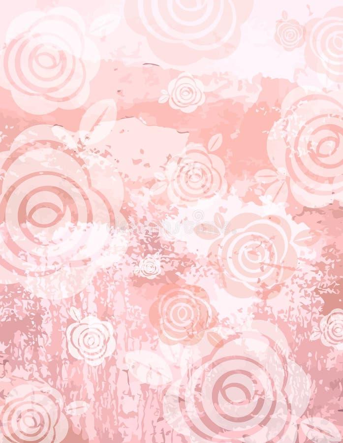 Fondo rosado de Grunge con las rosas decorativas ilustración del vector