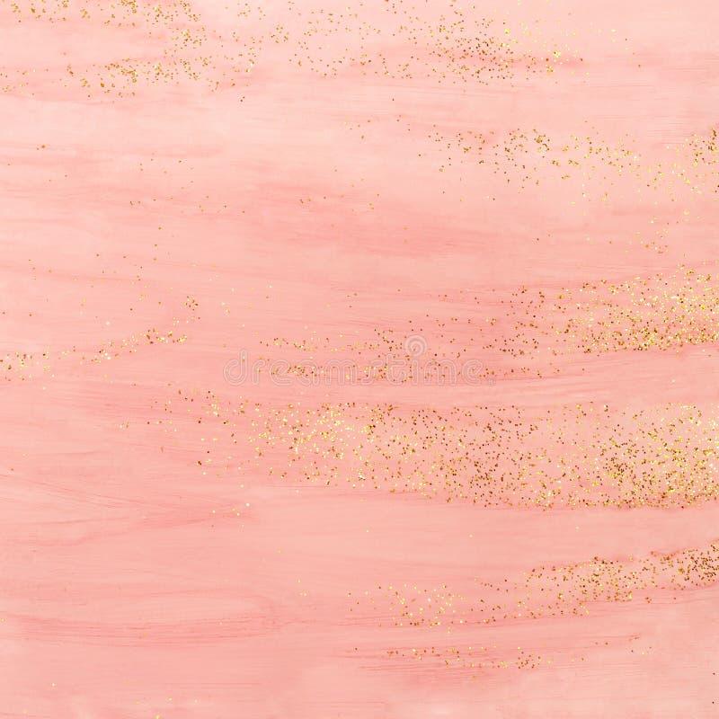 Fondo rosado de la acuarela con brillo de oro foto de archivo