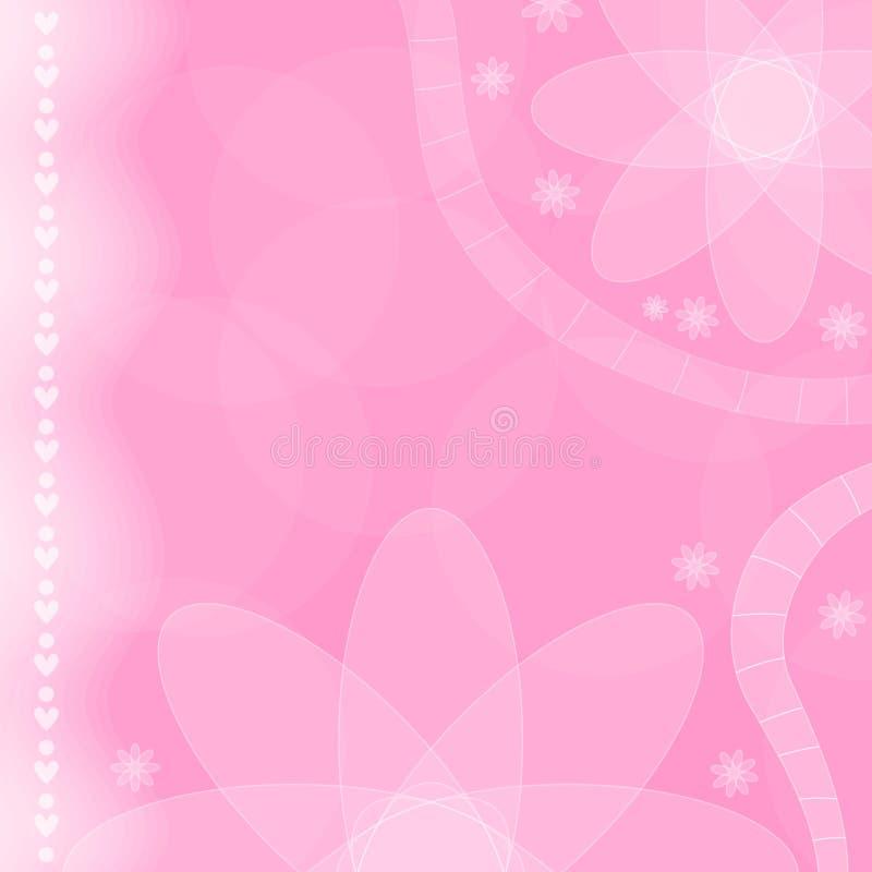 fondo rosado de la flor y del corazón libre illustration