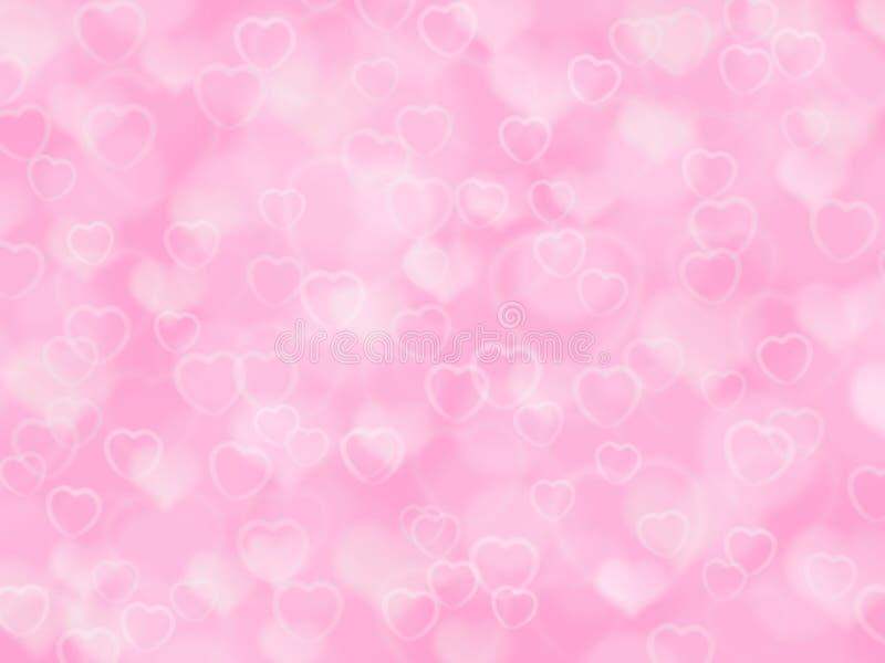 Fondo rosado de la tarjeta del día de San Valentín con el boke y los corazones libre illustration