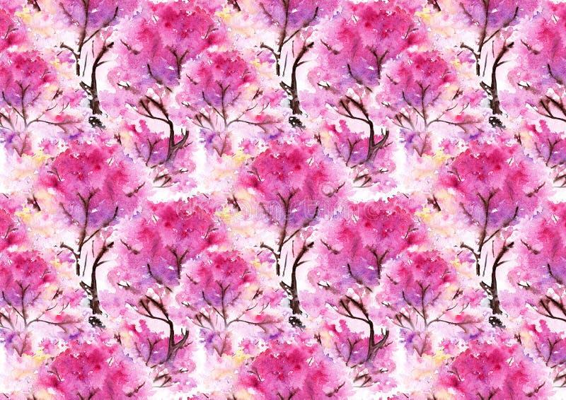 Fondo rosado de la textura del modelo de Sakura de la cereza de la acuarela libre illustration