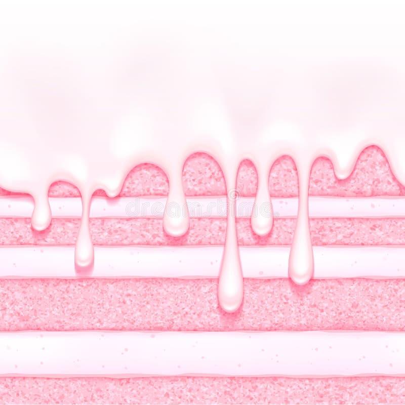 Fondo rosado de la torta de esponja de la fresa y de la crema Textura inconsútil colorida stock de ilustración