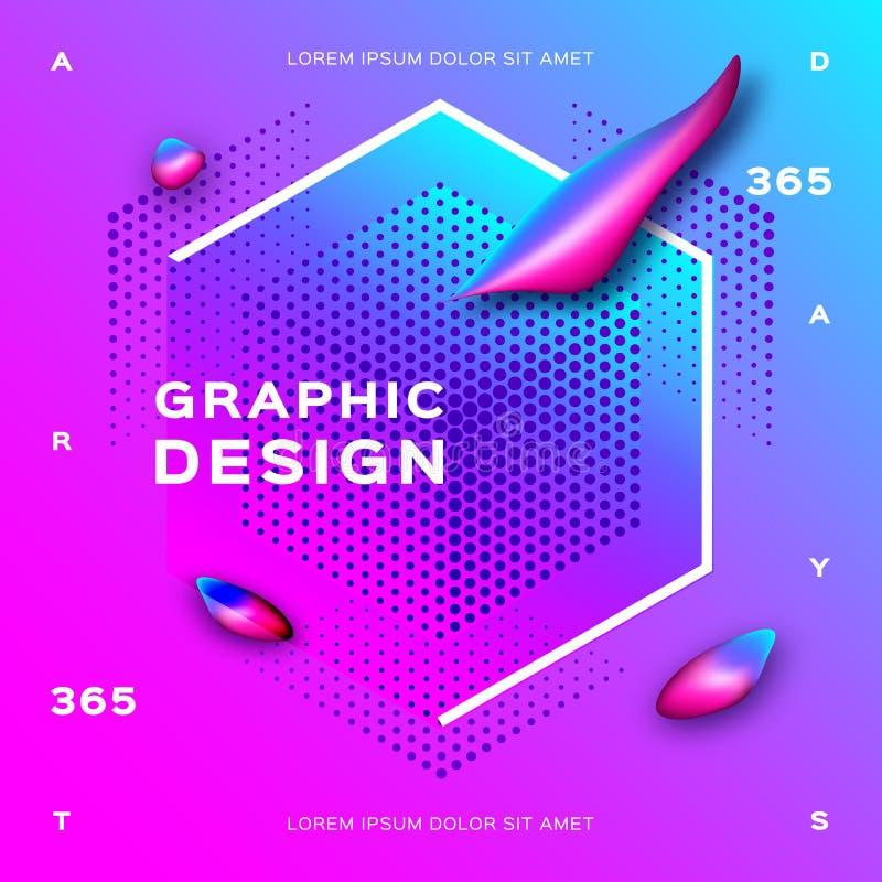 Fondo rosado de la turquesa geométrica de la pendiente Formas flúidas, diseño geométrico líquido Fondo futurista para la página w libre illustration