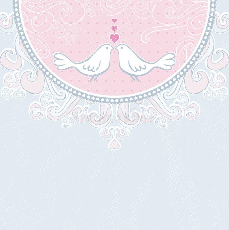 Fondo rosado de las palomas del drenaje de la mano libre illustration