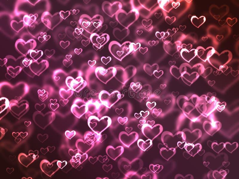 Fondo rosado de los corazones que brilla intensamente stock de ilustración