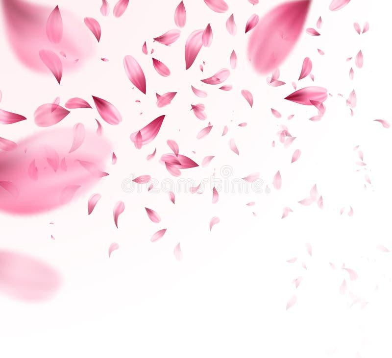 Fondo rosado de los pétalos de Sakura que cae Ilustración del vector libre illustration