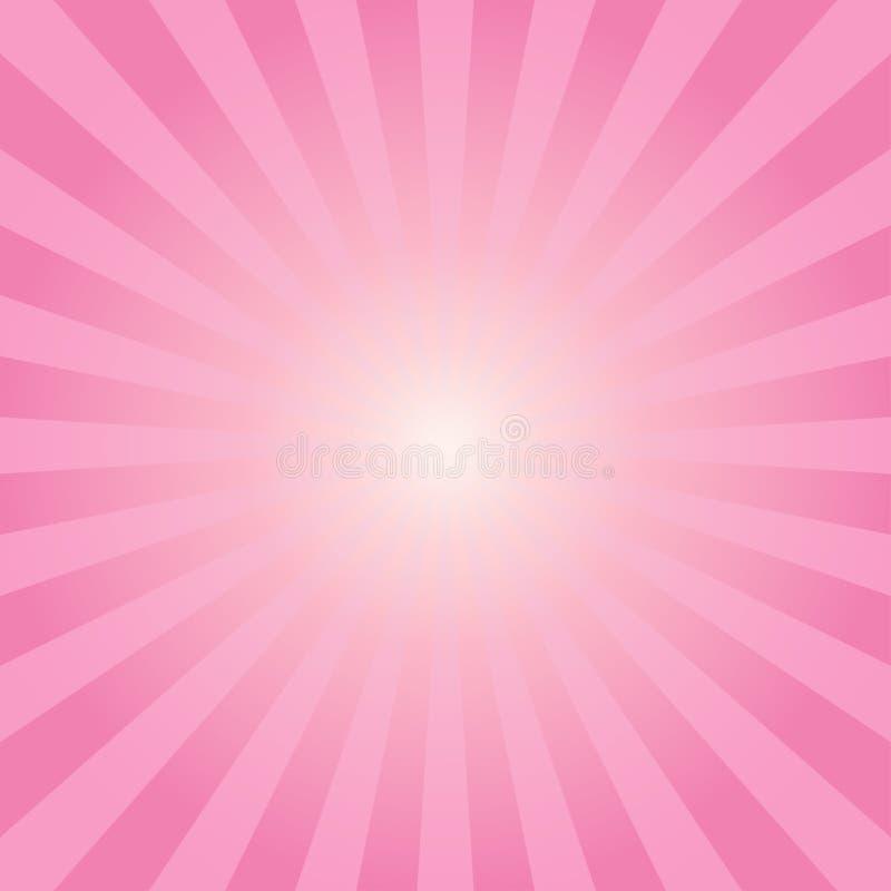 Fondo rosado de los rayos de los rayos de sol abstractos ilustración del vector