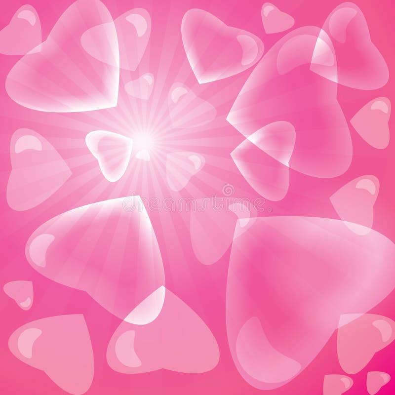 Fondo rosado del corazón de la burbuja libre illustration