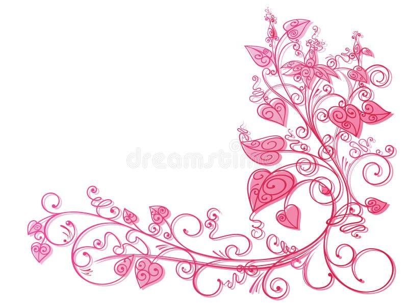 Fondo rosado del cordón de la hiedra stock de ilustración