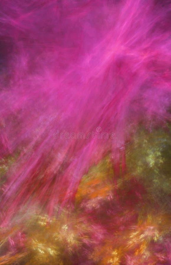 Fondo rosado del extracto de la pintura con las curvas y las líneas ilustración del vector