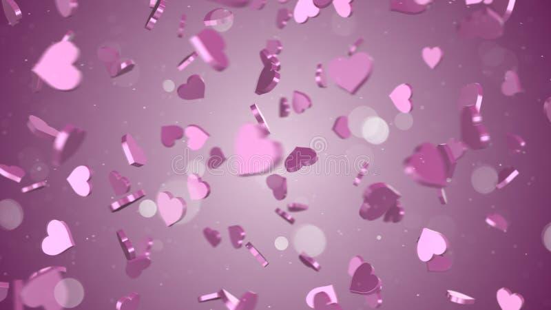 Fondo rosado del extracto de los corazones 3D ilustración del vector