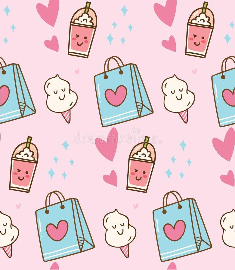 Fondo rosado del kawaii con el bolso del regalo y el caramelo de algodón stock de ilustración