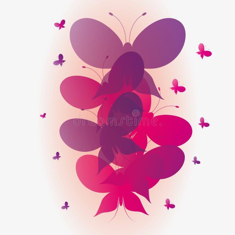 Fondo rosado del vector y púrpura abstracto de las mariposas imagen de archivo libre de regalías