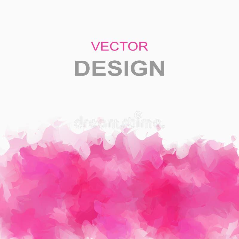Fondo rosado del watercolour del vector textura de la acuarela Elemento del diseño de la decoración contexto texturizado stock de ilustración
