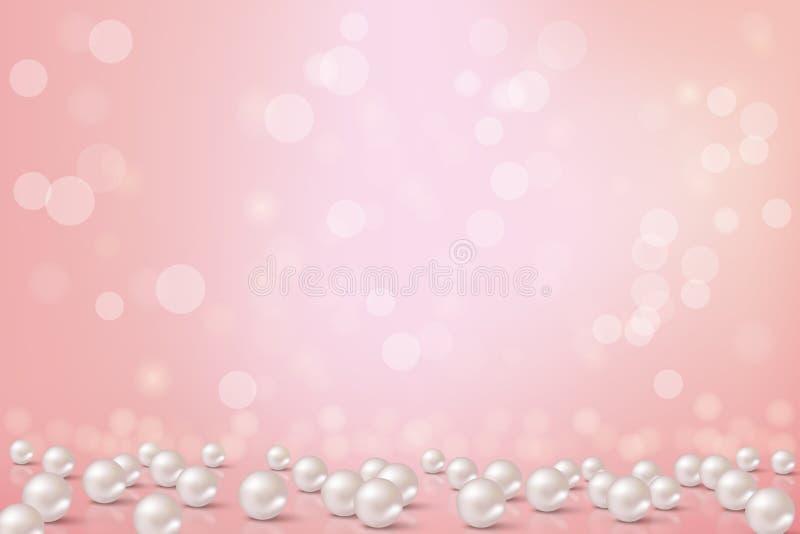 Fondo rosado hermoso con las perlas Ejemplo romántico del vector stock de ilustración