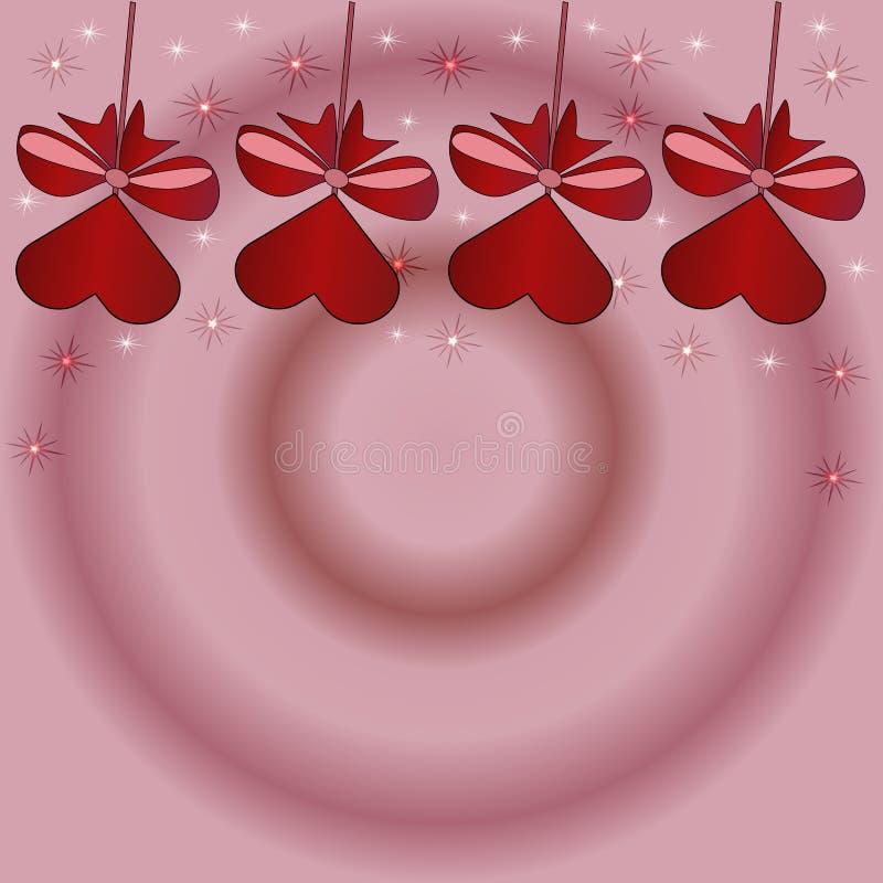 Fondo rosado hermoso con los dulces rojos con el arco en un palillo ilustración del vector