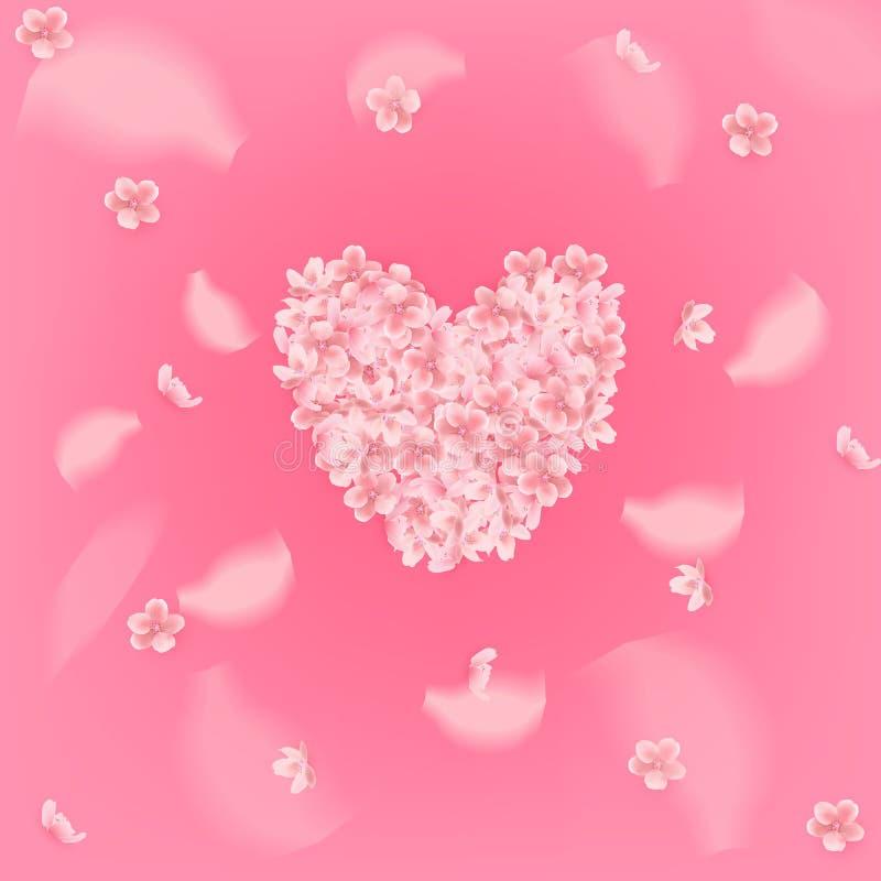 Fondo rosado hermoso con los pétalos rosados florecientes de Sakura en forma del corazón Ilustración del vector ilustración del vector