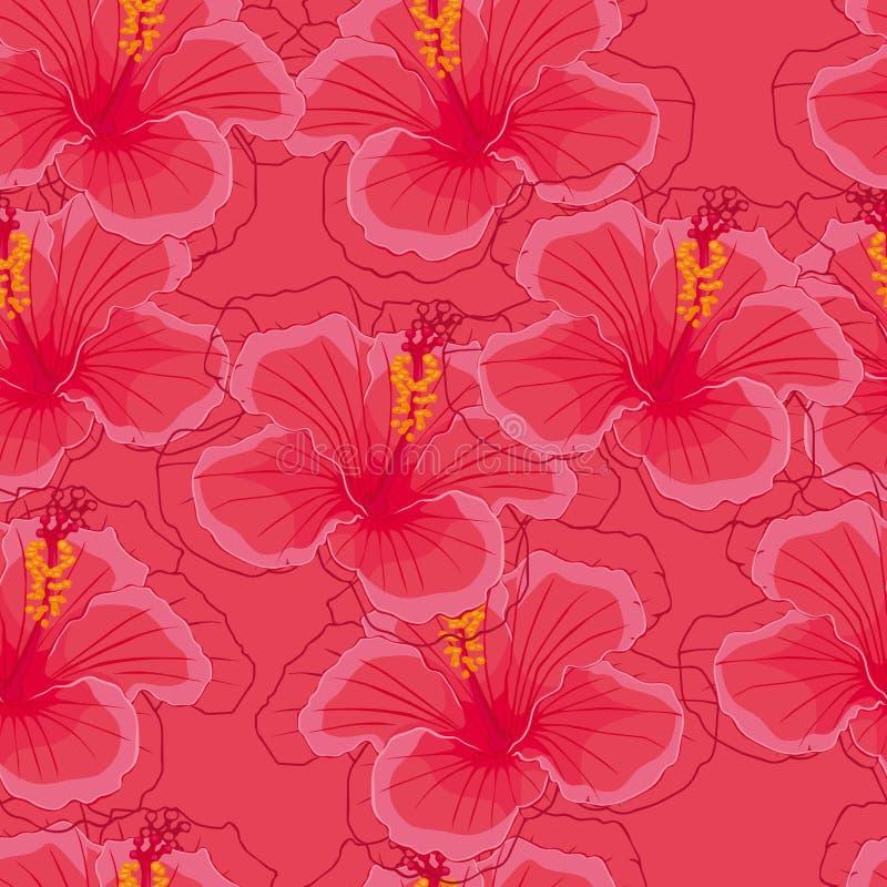 Fondo rosado inconsútil con las flores rosadas del hibisco libre illustration