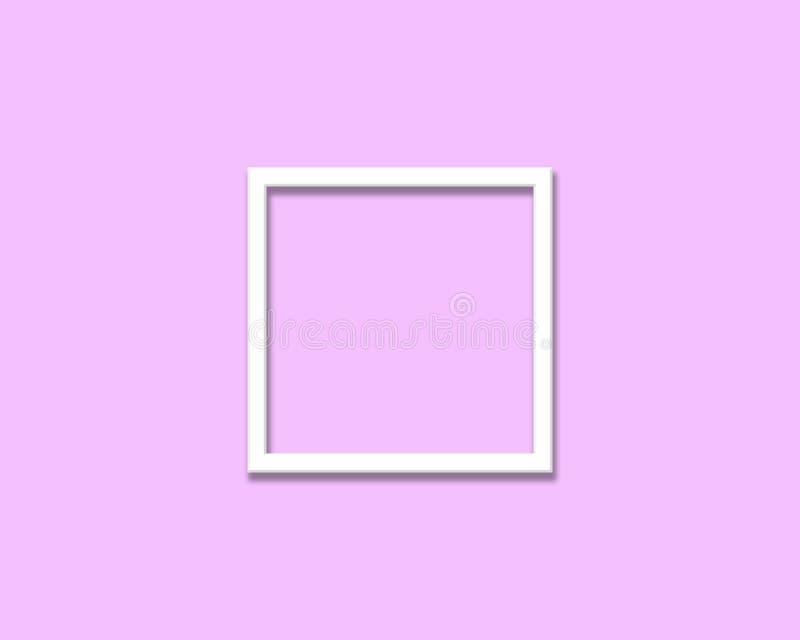 Fondo rosado limpio con el marco blanco de la foto imágenes de archivo libres de regalías