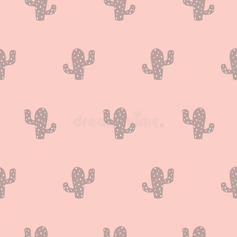 Fondo rosado lindo de la muchacha del modelo inconsútil suculento del cactus Ilustraci?n del vector ilustración del vector