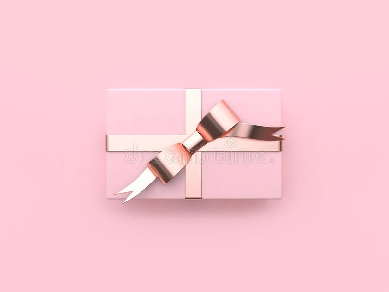 Fondo rosado mínimo 3d de regalo de la caja de la Navidad del día de fiesta del Año Nuevo del concepto de la reflexión del arco b stock de ilustración