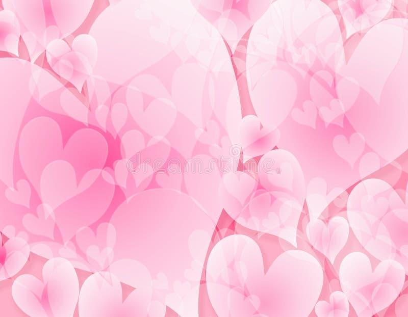 Fondo rosado opaco ligero de los corazones stock de ilustración