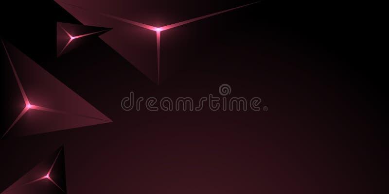 fondo rosado oscuro del triángulo poligonal abstracto ilustración del vector