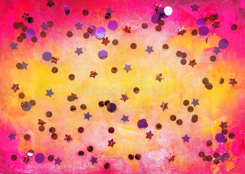 Fondo rosado y amarillo con las estrellas stock de ilustración