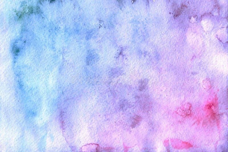 Fondo rosado y azul abstracto de la acuarela stock de ilustración