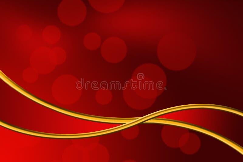 Fondo rosso astratto del nastro dell'oro e del bokeh immagini stock