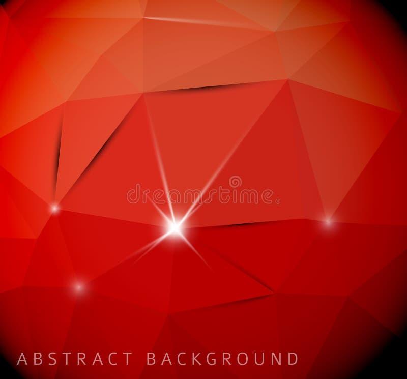 Fondo rosso astratto fatto dai triangoli royalty illustrazione gratis