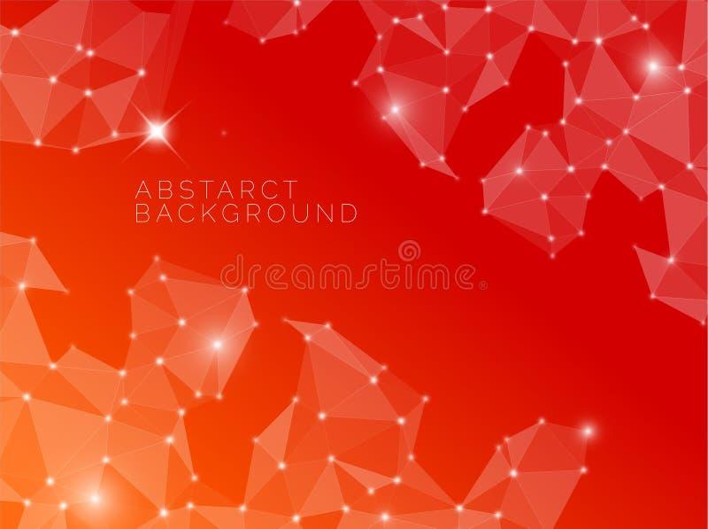 Fondo rosso astratto fatto dai triangoli illustrazione vettoriale