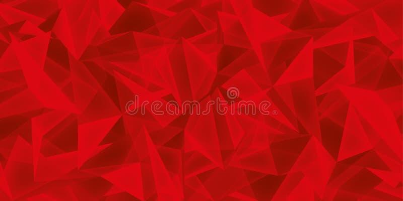 Fondo rosso astratto, struttura di vetro dei cristalli, molti triangoli carta da parati, progettazione di vettore illustrazione vettoriale