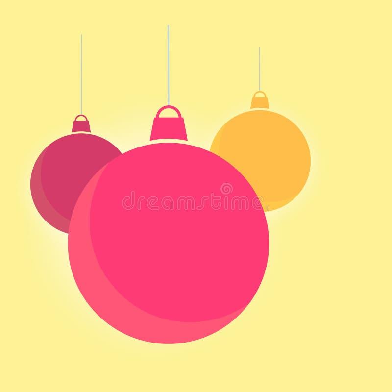 Fondo rosso brillante piano delle palle di Natale illustrazione di stock