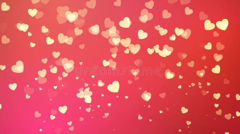 Fondo rosso con i coriandoli dorati del cuore Cartolina d'auguri di giorno dei biglietti di S Progettazione del partito del fondo illustrazione di stock
