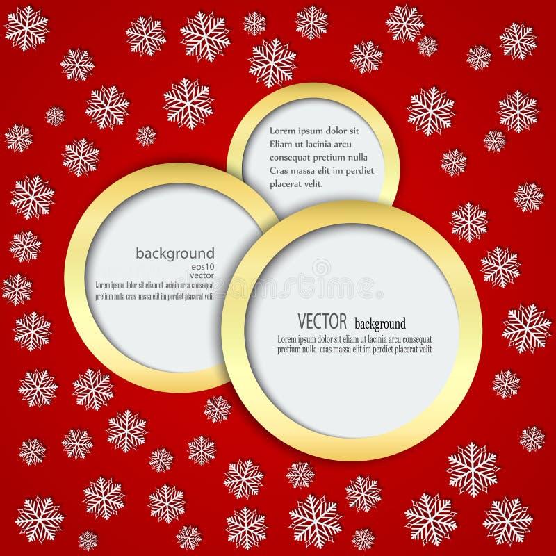 Fondo rosso con i fiocchi di neve nei cerchi nel telaio dell'oro illustrazione di stock