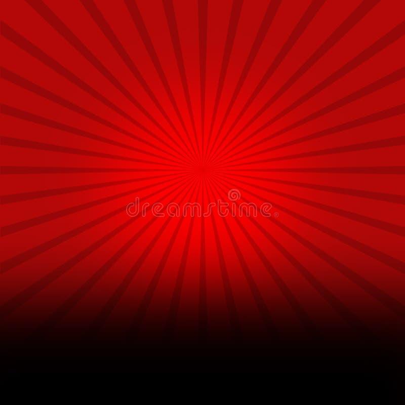 Fondo rosso con il burst del nero illustrazione di stock