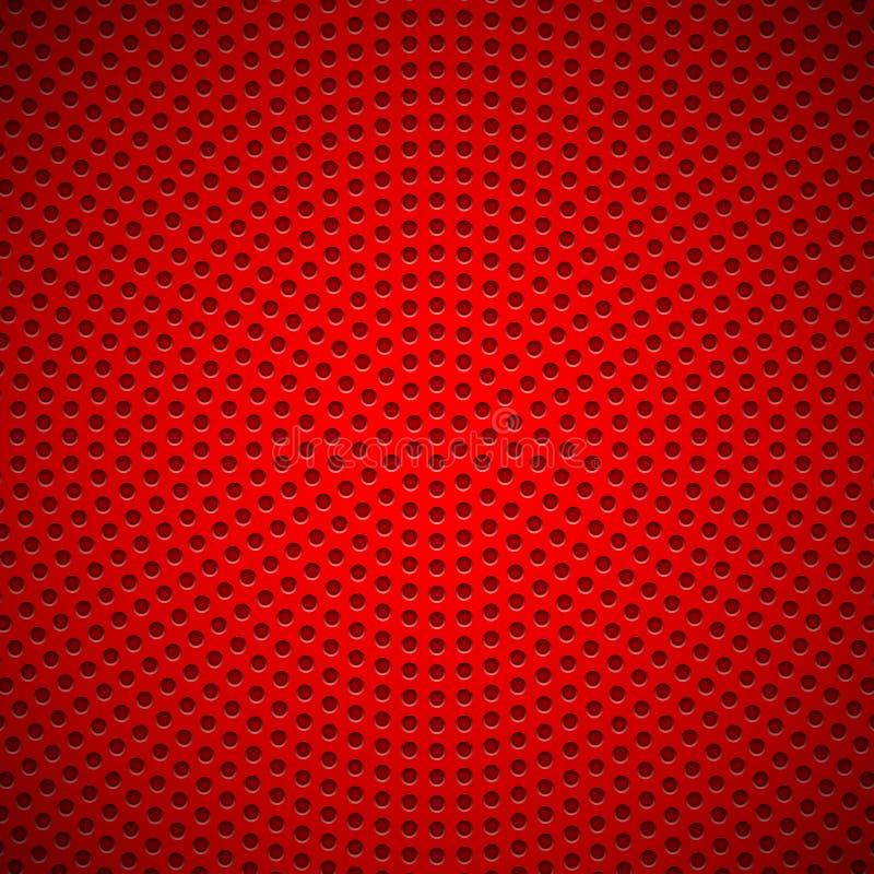 Fondo rosso con il modello perforato del cerchio illustrazione vettoriale
