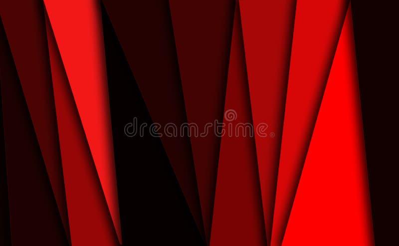 Fondo rosso con le linee e le bande illustrazione di stock