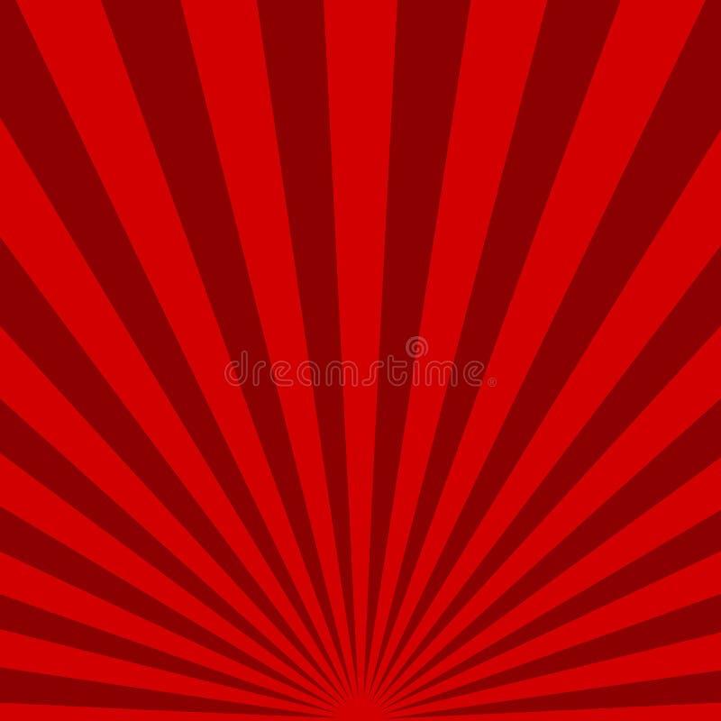 Fondo rosso dei raggi di sole Illustrazione di vettore illustrazione di stock