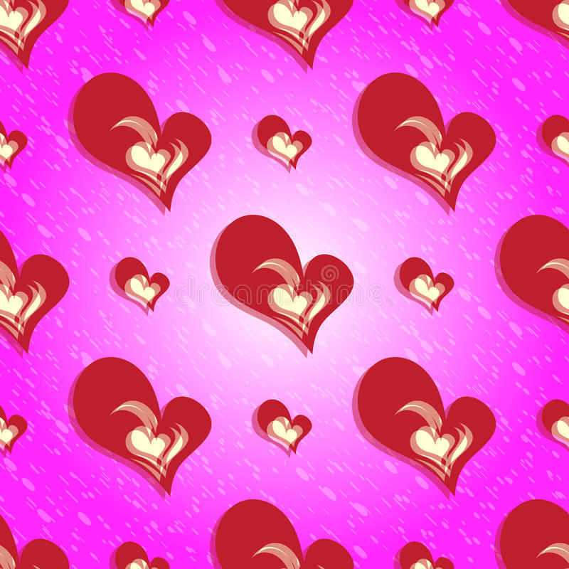 Fondo rosso del cuore di San Valentino senza cuciture variopinto del modello illustrazione vettoriale