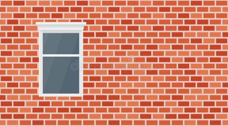 Fondo rosso del muro di mattoni di vettore Muratura urbana di vecchia struttura Carta da parati d'annata e finestra del blocchett royalty illustrazione gratis