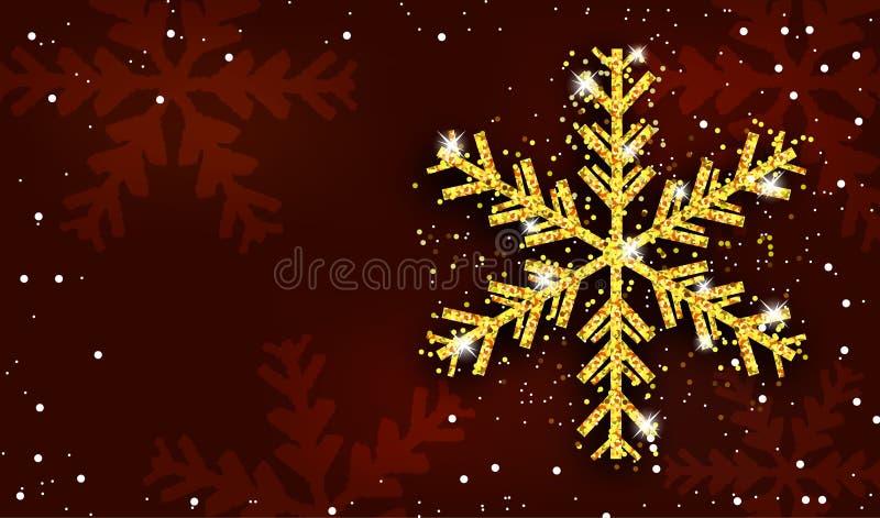 Fondo rosso del nuovo anno e di Natale con il fiocco di neve dorato Decorazione di natale Modello per la cartolina d'auguri, l'in illustrazione vettoriale