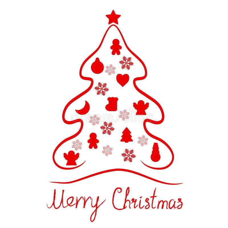 Fondo rosso dell'icona della carta degli elementi dell'albero di Buon Natale royalty illustrazione gratis