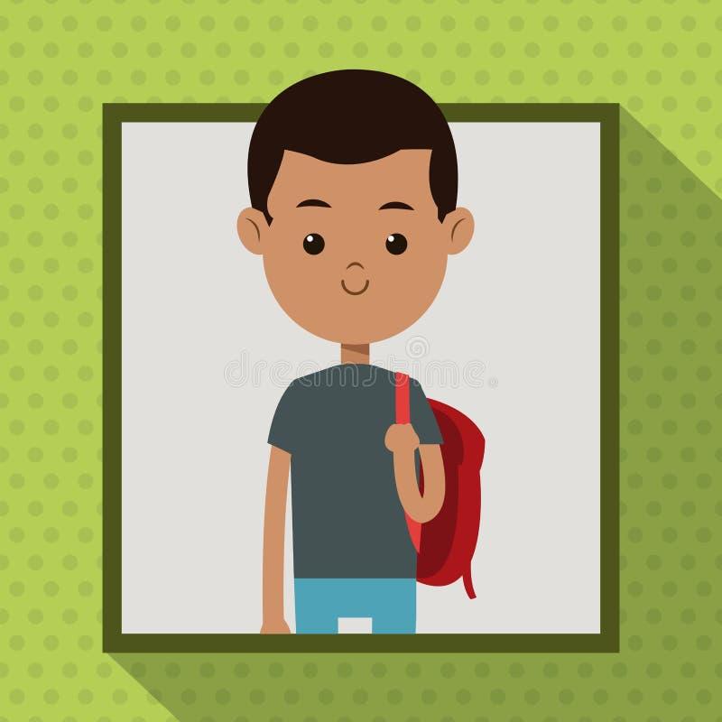 Fondo rosso dell'ombra del punto della struttura dello studente della borsa del ragazzo di afro illustrazione vettoriale