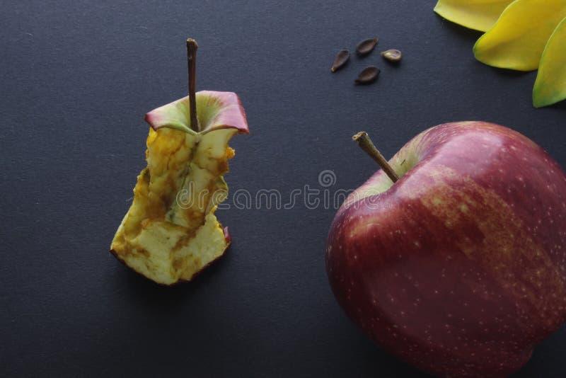 Fondo rosso della carta del mestiere di Stub Core Composition On Black del ceppo di Apple e di Apple fotografie stock libere da diritti