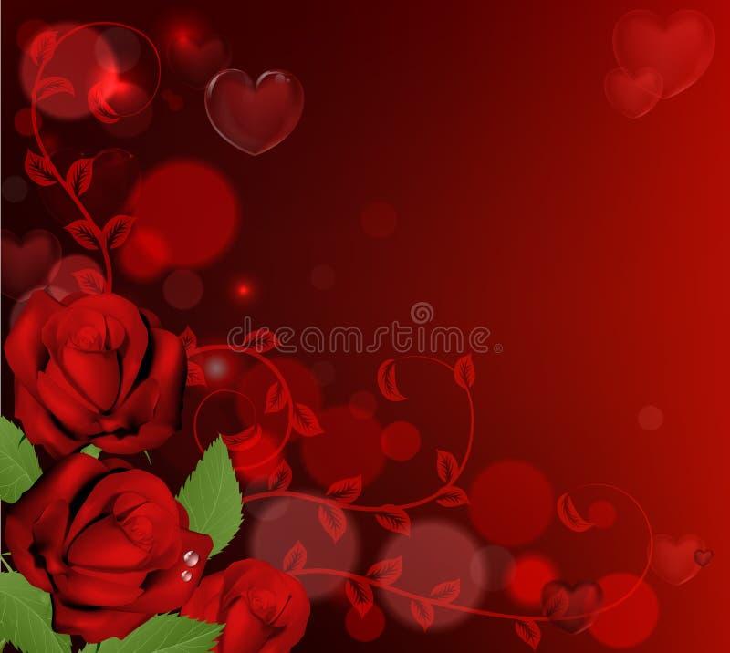 Fondo rosso delle rose di giorno di biglietti di S. Valentino illustrazione di stock